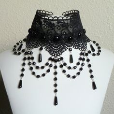 Black lace gothic choker necklace with rows of glass by Arthlin, $44.00