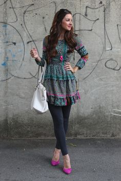 Teal & Blue Paisley Peasant Dress with Ruffles and Pink Heels from Marshalls. Idk why I like this