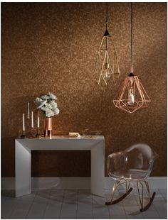 Reflections Collection: Hexagon in copper. This metallic wallpaper is composed of many hexagons that create a faceted effect on your wall -- so much glittery beauty! Hexagon Wallpaper, Plain Wallpaper, Metallic Wallpaper, Vinyl Wallpaper, Fabric Wallpaper, Clarke And Clarke Fabric, Buy Wallpaper Online, Soft Furnishings, Floating Nightstand