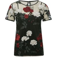 M&Co Sheer Floral Embroidered Top ($47) ❤ liked on Polyvore featuring tops, black, keyhole top, layering cami, sheer cami, short sleeve tops and camisole tops