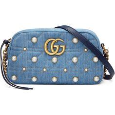 7e1e16676 Gucci Gg Marmont Matelassé Denim Shoulder Bag ($1,810) ❤ liked on Polyvore  featuring bags · Bolsa ...