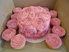 Pink Rose Cake and Cupcakes with pearl centers.