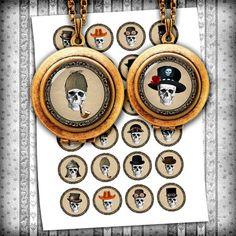 "Digital Collage Sheet - Skull Fashionista Circle Images - Glass Pendants, Bottle cap images 1"", 25mm, 30mm, 1.25"", 1.5"" - Instant Download"