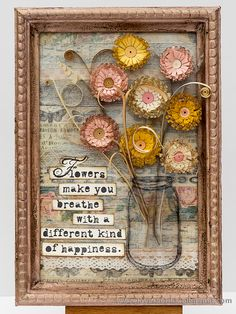 Layers of ink - Quilled Fringed Flowers in a Mixed Media Frame Tutorial by Anna-Karin. Made for the Simon Says Stamp Monday Challenge Blog, using stamps by Wendy Vecchi, Tim Holtz design tapes and frame and quilling paper from Quilled Creations.