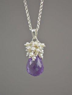 Purple Bridal Necklace, Amethyst Wedding Jewelry b Amethyst Jewelry, Pearl Jewelry, Crystal Jewelry, Wire Jewelry, Pendant Jewelry, Beaded Jewelry, Jewelry Necklaces, Jewellery, Amethyst Pendant