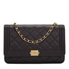 Chanel Black Quilted Lambskin Boy Wallet On Chain (WOC)   From a collection of rare vintage crossbody bags and messenger bags at https://www.1stdibs.com/fashion/handbags-purses-bags/crossbody-bags-messenger-bags/
