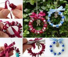Bead and Ribbon Wreath Christmas Ornament