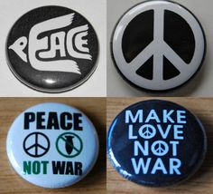 PEACE Button Badge 25mm/1 inch - CND HIPPY ANTI-WAR HIPPY