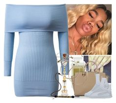 """""""BABY BLUE DREAMS"""" by melaninmonroee ❤ liked on Polyvore featuring WithChic, Michael Kors and Puma"""