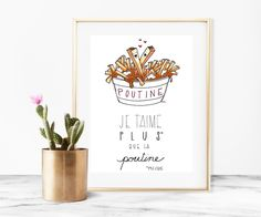 Home decor - print art - wall art - poutine art print - art print - 8x10 print - Je t'aime plus que la poutine - poutine illustration by madeinhappy on Etsy Poutine, Illustrations, Illustration Art, Perfect French Fries, Art Mural, Wall Art, Food Doodles, Art Original, Food Drawing