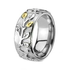 8MM Polished Stainless Steel Wedding Band Ring For Women with Leaf Designs in Center Crazy2Shop. $8.25. Features: Vine with Plain and Gold Colored Leafs all around Center. Stone Type: No Stones. Metal: Stainless Steel. Width: 8mm. Finish: Polished