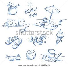 Icon set summer beach holidays, travel, vacation with sand castle, shoes, ice cream, shells, ball, drink, towel, sunglasses, parasol. Hand drawn doodle vector illustration.