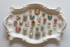 lovely magnets made with clip-on earrings.  I'm making some of these for Christmas gifts.