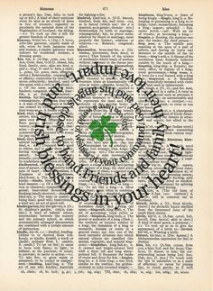 Spiral Irish Blessing Vintage Dictionary Book by TexasGirlDesigns, $12.00