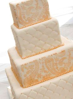 paisley and quilting wedding cake
