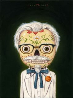 Robert Palacios, Los Angeles, CA, El Pollo Huero, Acrylic on Panel, Vintage Frame, 6.25X8.25/12X13, $1300
