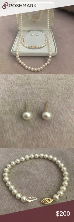 3 Piece Cultured Pearl Set 3 Piece Cultured Pearl Set with 14k cultured pearls Jewelry
