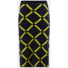 Argyle Knit Pencil Skirt ❤ liked on Polyvore featuring skirts, knit skirt, knee length pencil skirt, knit pencil skirt, blue pencil skirt and mid length skirts