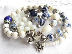 delft memory wire bracelet delft blue bracelet delft by minouc