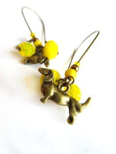 Dachshund earrings wiener dog earrings dog doxie  by 2fillesdunord, $13.00