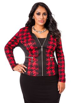 Plus size Houndstooth Colorblock Zip Up Jacket #UNIQUE_WOMENS_FASHION