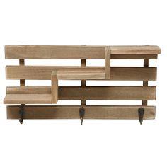 Amazon.com   Rustic Brown Wood Slatted Wall Mounted Storage Rack W/ 3 Stair