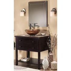 Home Decorators Collection Briscoe 31 in. W x 22 in. D Vanity Top in Espresso with Glass Top/Copper Basin-0322210820 at The Home Depot
