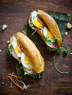 """Breakfast Sandwich Recipe: Vietnamese Fried Egg Sandwich (via White On Rice Couple). """"Repinned by Keva xo""""."""