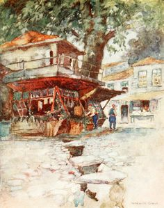 """'A Village Store at Kavak' from """"Constantinople painted by Warwick Goble"""" (1906)"""