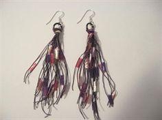 Diy fringe trellis yarn earrings