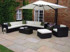 oakita rattan garden furniture corner sofa and king parasol - Garden Furniture King