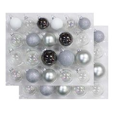 42ct Silver Clear Pearl Glass Christmas Ornament Set - Wondershop™ : Target