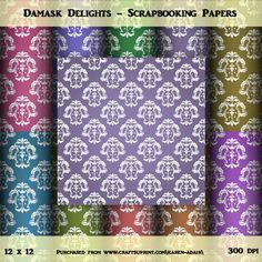"""Damask Delight Set 1 on Craftsuprint designed by Karen Adair - This paper pack contains 10 sheets, all 12"""" x 12"""", in jpeg format at 300 dpi. They have a pretty white damask overlay, in 10 gorgeous deep colours.Please observe my TOU, a copy of which is included in the zip file. - Now available for download!"""
