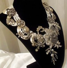 LOVE LOVE LOVE   Rhinestone statement necklace Collier Nuptiale by HopscotchCouture, $267.00