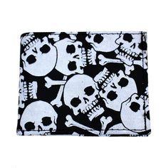 Laughing Skull /& Crossbones Printed Wallet BI-Fold Men/'s Vegan Leather
