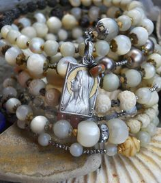 Rise and Shine Religious Mother of Pearl Wrap by HappyMoonDesigns, $210.00