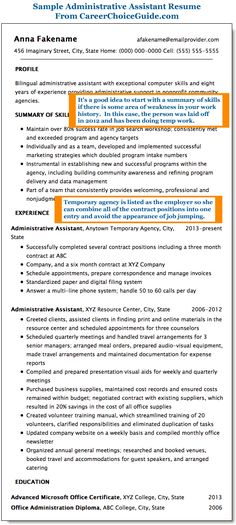 Resume Summary Administrative Assistant | Resume Info | Pinterest ...