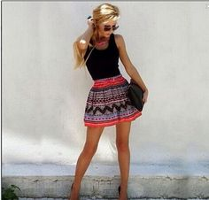Bold skirt, black tank top- I know that this isn't hair or nail ideas but I love how the shirt for once is just plain and the skirt is the highlight of the outfit Fashion Mode, Look Fashion, Fashion Outfits, Womens Fashion, Dress Fashion, Ankara Fashion, Fashion Skirts, Woman Outfits, Tribal Fashion