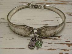 Fork spoon handle bracelet  owl charm  by WhisperingMetalworks, $28.75