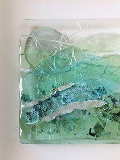 BOX FRAMED FUSED SILVER SHIMMER GLASS ARTWORK