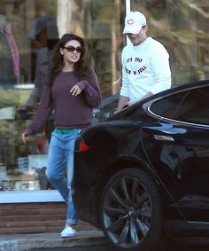 Ashton Kutcher and Mila Kunis: They have constantly been the talk of the town, whether they are getting married, when will it happen and we see them all cozy and nice, driving around town in their Tesla S model. For more, check out:  www.evannex.com