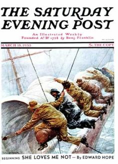 "Giclee Print: ""Trim the Sails!,"" Saturday Evening Post Cover, March 1933 by Anton Otto Fischer : Ship Figurehead, Norman Rockwell Paintings, Song Of The Sea, Saturday Evening Post, Artist Gallery, Ship Art, Vintage Signs, Giclee Print, Illustration Art"