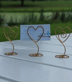 10 Gold or Silver Heart with Swirl Wire Picture Holder by InspiredwithWire on Etsy