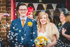 Image by Photography By Clare - A 50s Inspired Wedding At Burton Joyce Village Hall With Yellow And Grey Colour Accents And Bride In A Tea Length Gown By Sincerity Bridal With Groom In Reiss http://www.rockmywedding.co.uk/a-rock-and-roll-wedding/