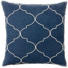 Pottery Barn Tile Embroidered Pillow Cover ($50) ❤ liked on Polyvore featuring home, home decor, throw pillows, blue, blue home decor, pottery barn, blue accent pillows, embroidered throw pillows and blue throw pillows