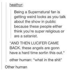 """Supernatural Fan vs Other Human. It is weird when a normal person hears you say """"I miss Lucifer.""""<<<well I'm a SPN fan and I'm not human so it's just """"weakling"""" instead of """"other human"""" Fangirl, Nos4a2, Weird Look, Supernatural Memes, Spn Memes, Super Natural, Destiel, Superwholock, Nerdy"""