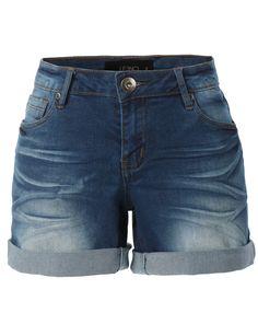 LE3NO Womens High Waisted Denim Cuffed Shorts