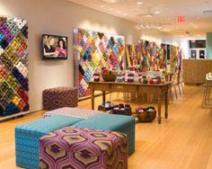 The best NYC craft stores: Lion Brand Yarn Studio Studio Interior, Cafe Interior, Interior Design, Wool Shop, Yarn Shop, Lion Brand Yarn Studio, Repeat Crafter Me, Hand Knitting Yarn, Yarn Stash