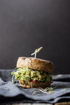 Avocado Pesto Chickpea Salad Sandwiches by Edible Perspective (Vegan) Chickpea Salad Sandwich, Veggie Sandwich, Vegan Sandwiches, Sandwich Recipes, Lunch Recipes, Salad Recipes, Dessert Recipes, Vegetarian Recipes, Cooking Recipes