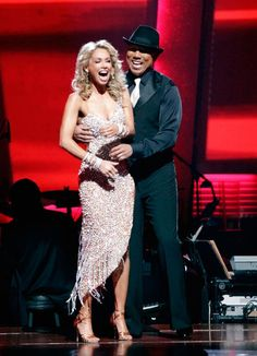 Hines Ward and his partner Kym Johnson react to being safe from elimination. The couple danced a Tango, a Salsa and an Instant Cha Cha on week nine of 'Dancing With The Stars.' The judges gave the couple 30 out of 30 for their Argentine Tango and 30 points out of 30 for their Salsa. The couple earned a total of 60 out of 60.